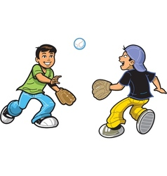 Boys Playing Catch vector image vector image