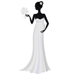 bride in long dress silhouette vector image vector image