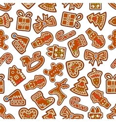 Christmas cookies and biscuits seamless background vector image vector image