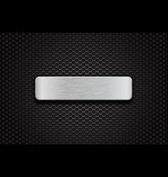 metal brushed plate on perforated dark steel vector image vector image