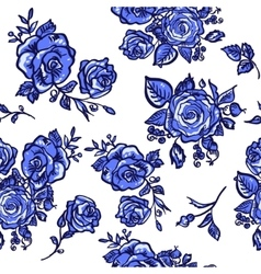 pattern blue rose vector image