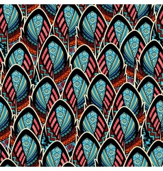 Seamless pattern with ornate feathers vector image vector image