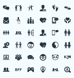 Set of simple fellows icons vector