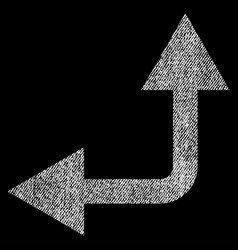 bifurcation arrow left up fabric textured icon vector image vector image