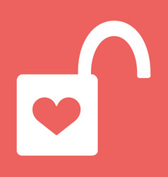 heart padlock open in flat icon vector image