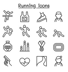 running icon set in thin line style vector image