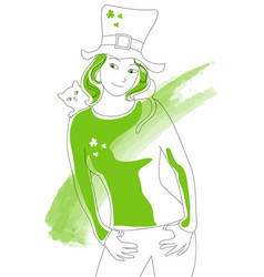 st patrick green lady vector image