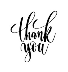 thank you black and white hand lettering vector image