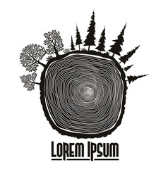Wood stump emblem tree trunk vector
