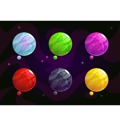 Cool bright colorful fantasy planets vector image vector image