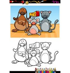 cute pets cartoon coloring book vector image