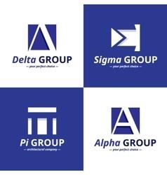 minimalistic negative space greek letters vector image