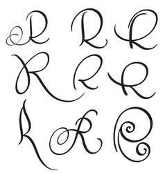 set of art calligraphy letter r with flourish of vector image vector image