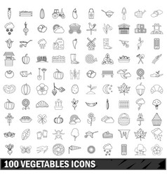 100 vegetables icons set outline style vector