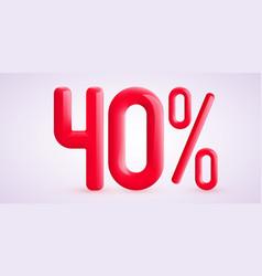 40 percent off discount creative composition 3d vector