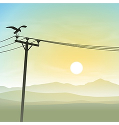 A Bird on Telephone Lines vector image
