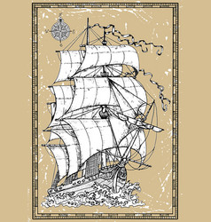 antique sailboat under full sails vector image