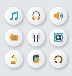 audio icons flat style set with voice listen vector image