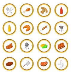 Bbq icons circle vector
