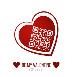 be my valentine text qr code in red heart on vector image