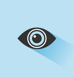 body senses vision eye icon with shade on blue vector image