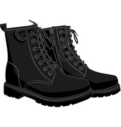 boots black isolated on white vector image
