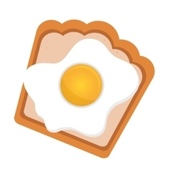 Bread and egg fries icon vector
