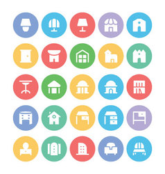 Building and Furniture Icons 13 vector image