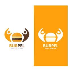 burger and people logo combination vector image