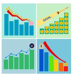 Business graph concepts icon set vector