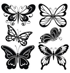 Butterfly silhouette tattoo vector