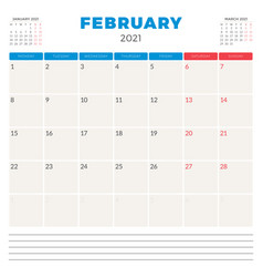 Calendar planner for february 2021 week starts on vector