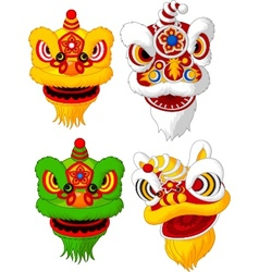 Cartoon Chinese lion head collection vector