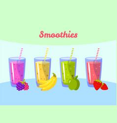 Cartoon smoothies berry banana apple vector