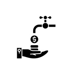cash flow black icon sign on isolated vector image