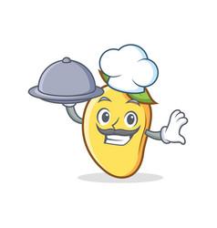 chef with food mango character cartoon mascot vector image