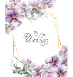 cherry flowers wedding card watercolor vector image