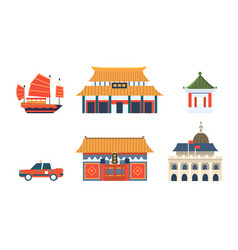 chinese traditional architectural and cultural vector image