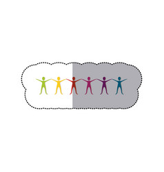 color people with hands up icon vector image