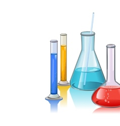 Colored laboratory flasks glassware template vector image