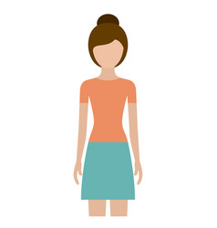 colorful silhouette faceless front view woman with vector image