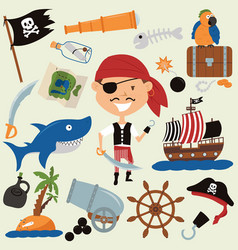 cute boy in a pirate costume and various objects vector image