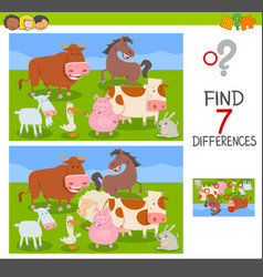 differences game with farm animals group vector image