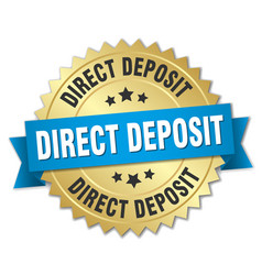 Direct deposit round isolated gold badge vector