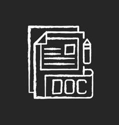 Doc file chalk white icon on black background vector