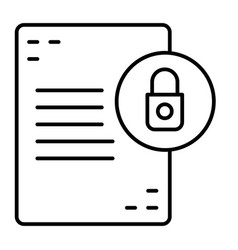 Document with lock thin line icon list with vector