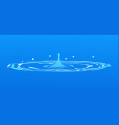 Drops falling into water isolated on blue spring vector