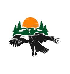 eagle and mountain logo design template vector image