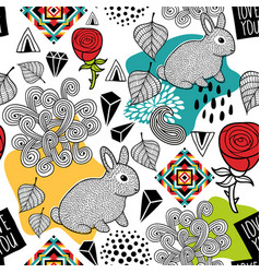 endless pattern with cute animals and abstract vector image