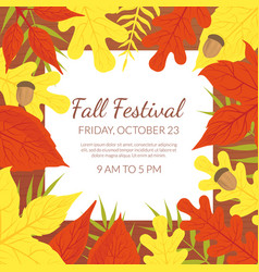 fall festival banner template with bright autumn vector image